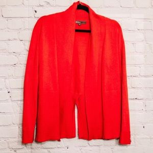 89th & Madison Red Open Front Cardigan Sweater
